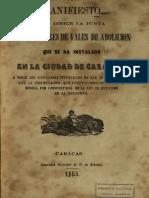 Manifiesto de Tenedores de Vales de La Abolición Caracas 1855