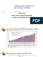 Current Situation and Experience of Waste to Energy in China