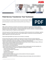 Field Service Transformer Test Technician