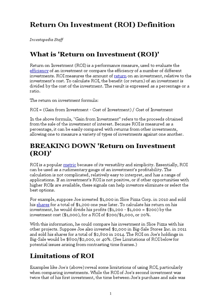 Return of Investment | Retorno do Investimento | Investimentos