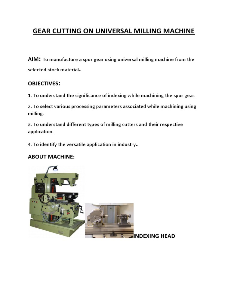 SPUR GEAR CUTTING ON UNIVERSAL MILLING MACHINE docx