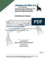 Constancia de Trabajo Distribuidora Ire Mga,c.A