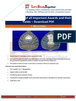 Complete List of All Important Awards and Their Fields PDF@Letsstudytogether.co