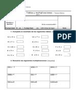 Evaluación de Tablas y Multiplicaciones