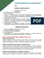 Documentação Para Lincença Alvará Sanitário