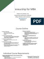 Entrepreneurship for MBA