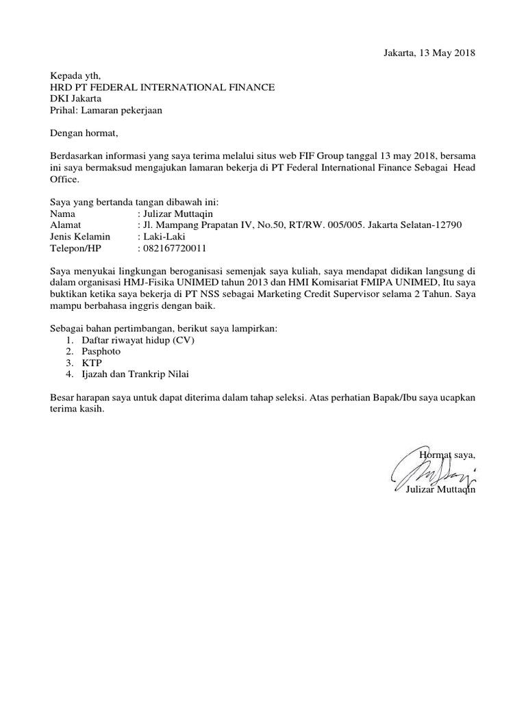 Contoh Surat Lamaran Kerja Di Pt Nsc Finance Contoh Seputar Surat