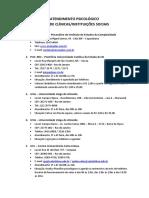 Atendimento Psicológico - Lista de Clínicas-Instituições Sociais