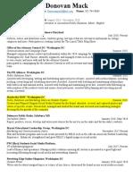 Donovan Mack's Resume