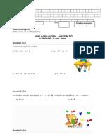Avaliação Global II Unidade - 7 An0 - Matemática 2018