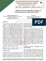 Socio Economic Conditions of Women Agricultural Labours in Thirukandeeswaram Panchayat of Thiruvarur District