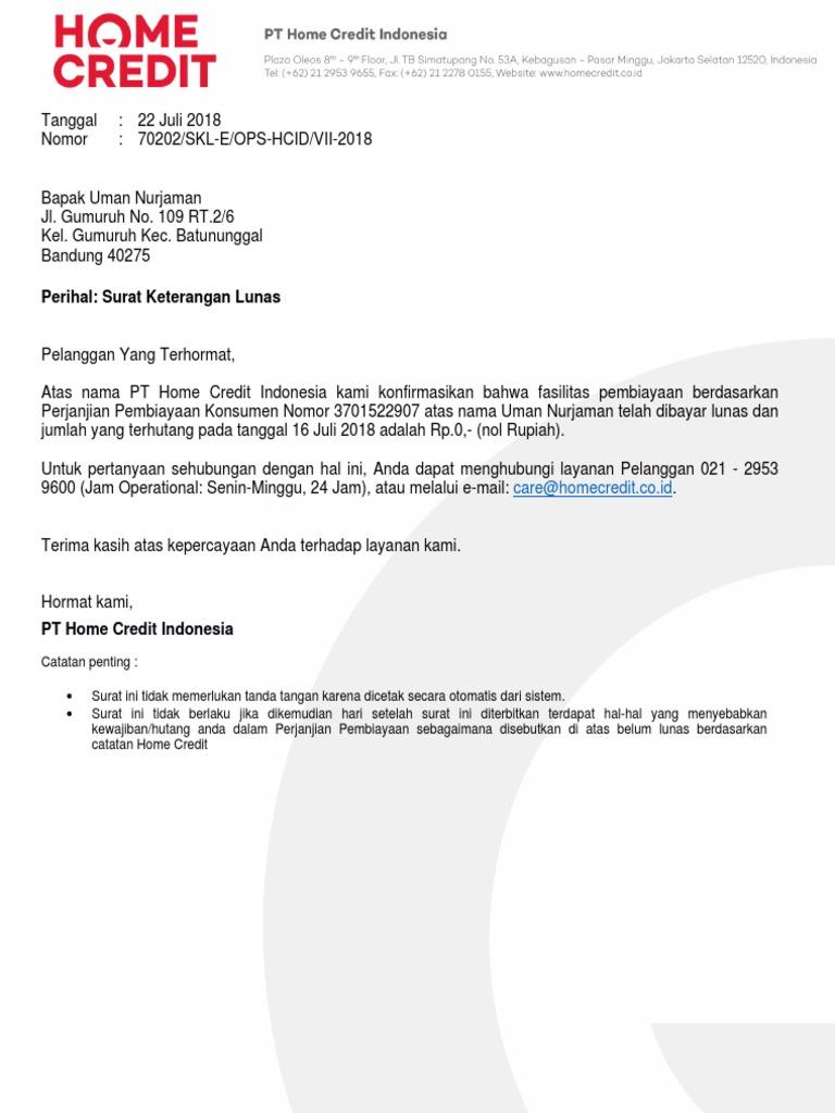 Surat Keterangan Lunas 3701522907