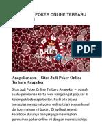 Situs Judi Poker Online Terbaru Anapoker