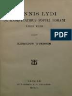 Ioannis Lydi - De Magistratibus Populi Romani Libri Tres (1903)
