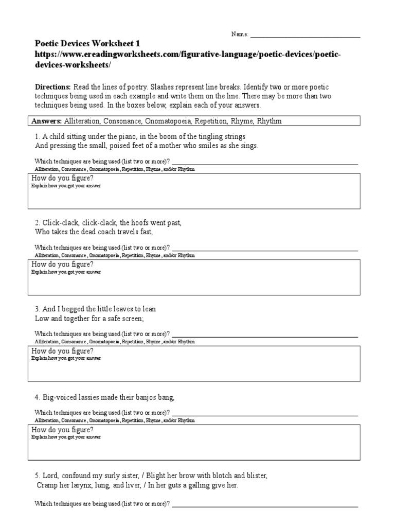 Poetic Devices Worksheet 01 Rhyme Poetry