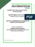 Hacia El Aprendizaje Autonomo de Lenguas Extranjeras