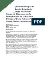 """Inauguración de La Escuela Primaria """"Irene Robledo"""", En Santa Cecilia, Guadalajara"""