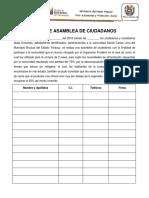 Acta de Asamblea de Ciudadanos Daniel Carias Lima