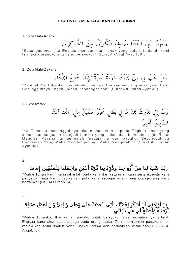Doa Untuk Mendapatkan Keturunan