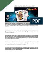 Teknik Tepat Pilih Situs Poker Online Terpercaya 2018