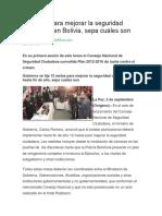 12 Metas Para Mejorar La Seguridad Ciudadana en Bolivia