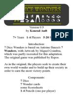 7 Dice Wonders Mini Rulebook