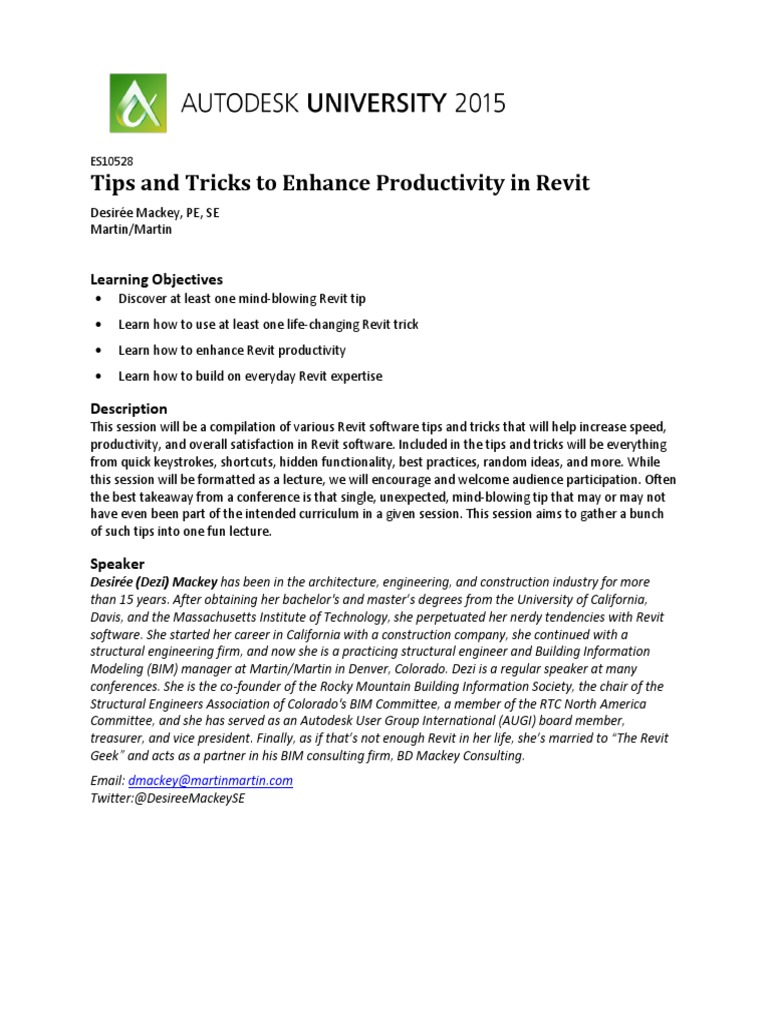 Tips and Tricks to Enhance Productivity in Revit pdf