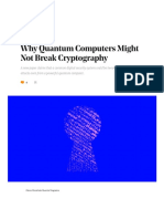 Why Quantum Computers Might Not Break Cryptography