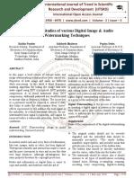 Comparative Studies of various Digital Image & Audio Watermarking Techniques