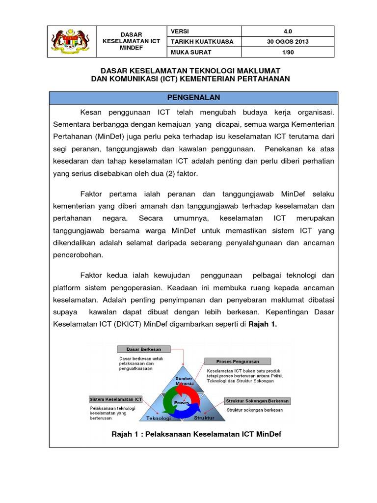 Dasar Keselamatan Teknologi Maklumat Dan Komunikasi Ict Kementerian Pertahanan Pengenalan