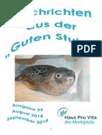"""Nachrichten aus der """"Guten Stube"""" -  Aug/Sept 2018"""
