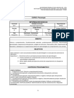 Plano de ensino Psicologia Experimental II-2017-1