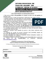 Reis Reis 2015 Prefeitura de Santana Do Jacare Mg Agente Administrativo Prova