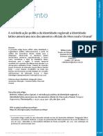 2018 - A Reivindicação Política Da Identidade Regional - Revista Tempo e Argumento