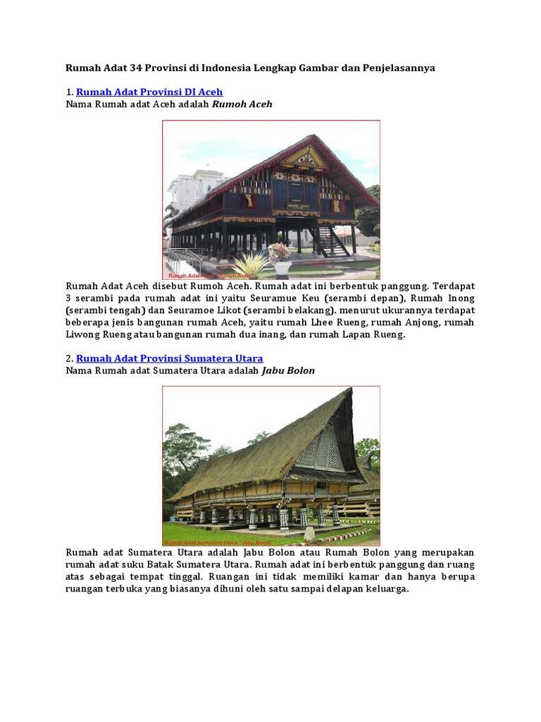 Rumah Adat 34 Provinsi Di Indonesia Lengkap Gambar Dan Penjelasannya