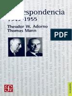 Adorno Mann Correspondencia 1943 1955