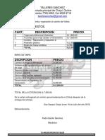 Cotización de Repuestos y Mano de Obra Por Mantenimiento de Camión de Volteo de La Municipalidad de Chajul