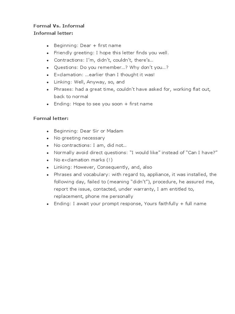 general task 1 formal informal