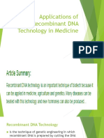 Applications of Recombinant DNA Technology in Medicine