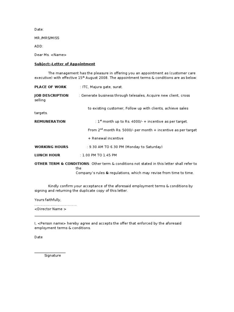 Appointement Of Telecaller