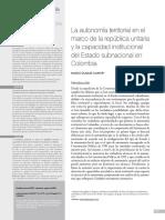 Duque La Autonomía Territorial en El Marco de La República Unitaria y La Capacidad Institucional Del Estado Subnacional en Colombi
