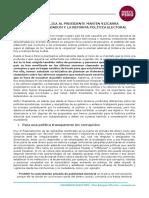 Carta Publica al presidente Vizcarra