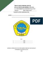 5. Format Laporan Pelaksanaan KKN UNW Angkatan Ke-II Tahun 2018