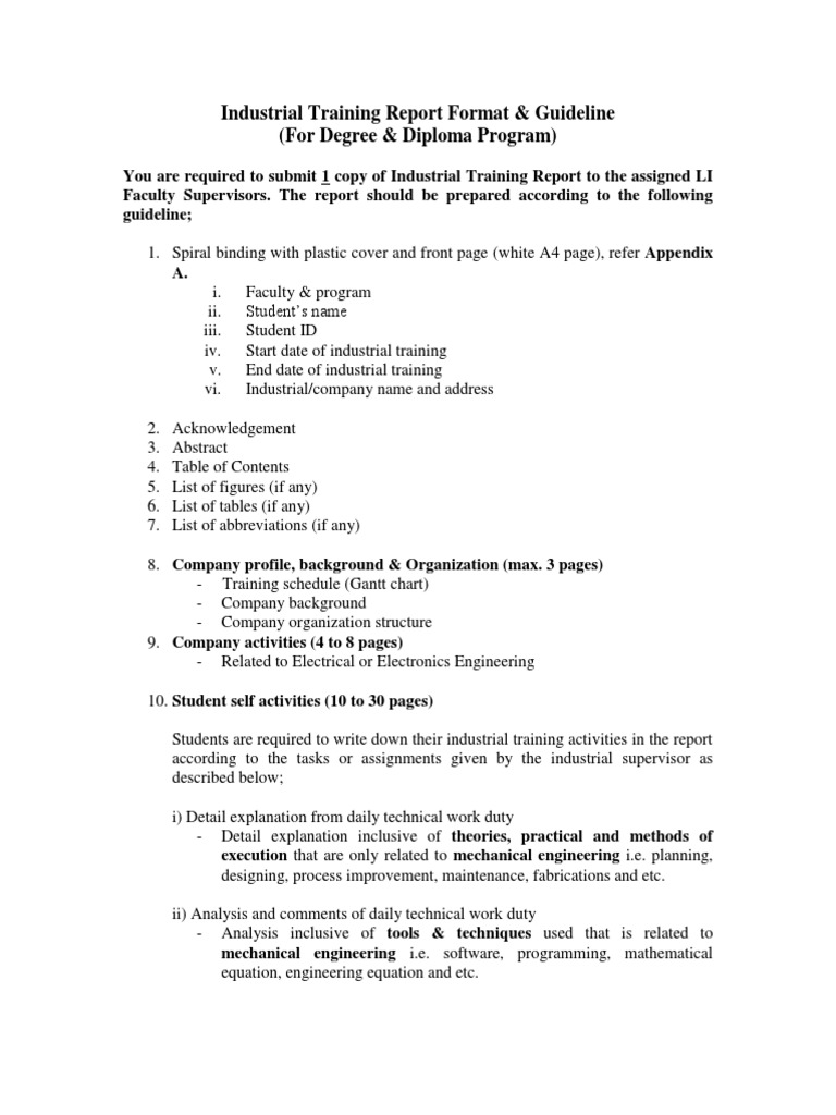 industrial training report sample for electrical engineering