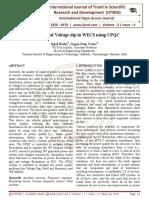 Mitigation of Voltage dip in WECS using UPQC