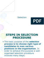Steps in Selection Procedure