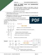 ecuaciones fraccionaras de primer grado