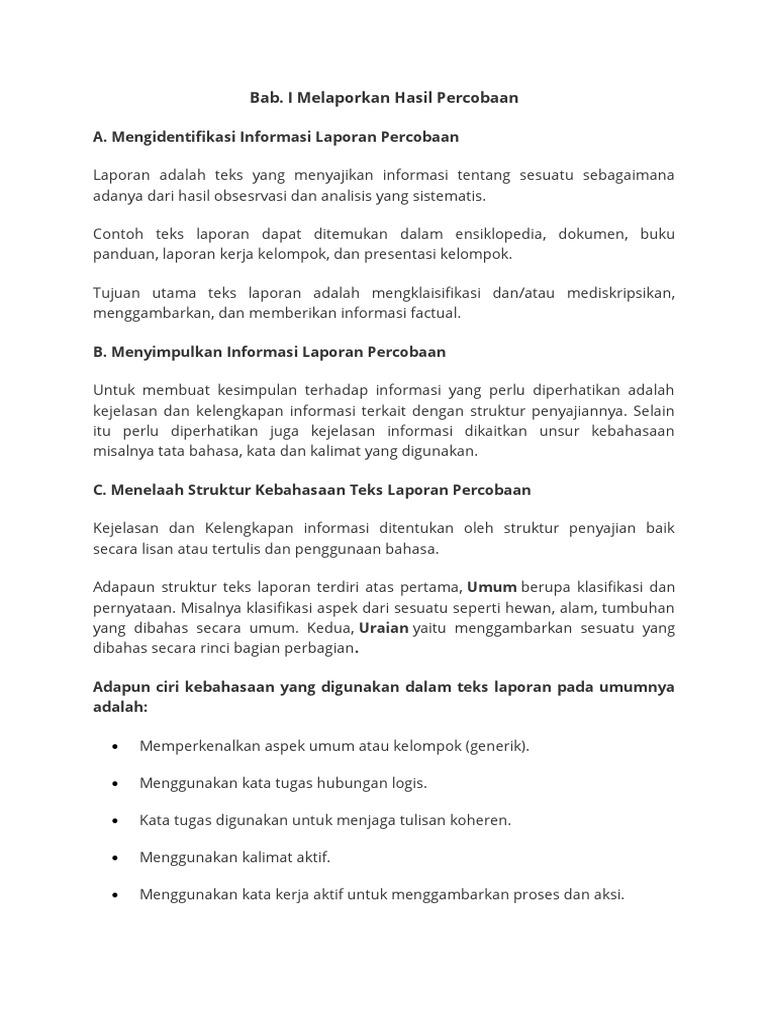 Contoh Teks Laporan Percobaan Kelas 9 Bahasa Indonesia Kumpulan Contoh Laporan