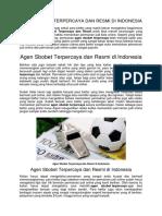 Agen Sbobet Terpercaya Dan Resmi Di Indonesia
