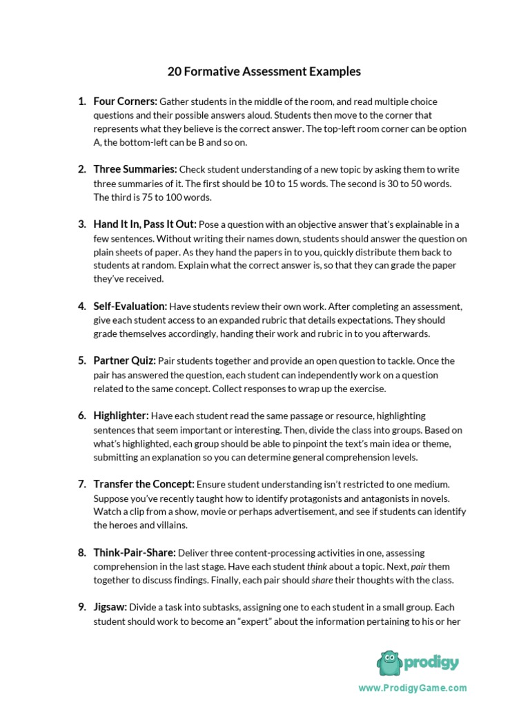 downloadable list 20 formative assessment examples   question